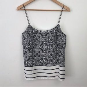 Banana Republic Printed Black White Sleeveless Top